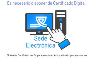 CERTIFICADO DE EMPADRONAMIENTO AUTOMÁTICO SEDE ELECTRONICA DEL AYUNTAMIENTO DE SANTA EUFEMIA.