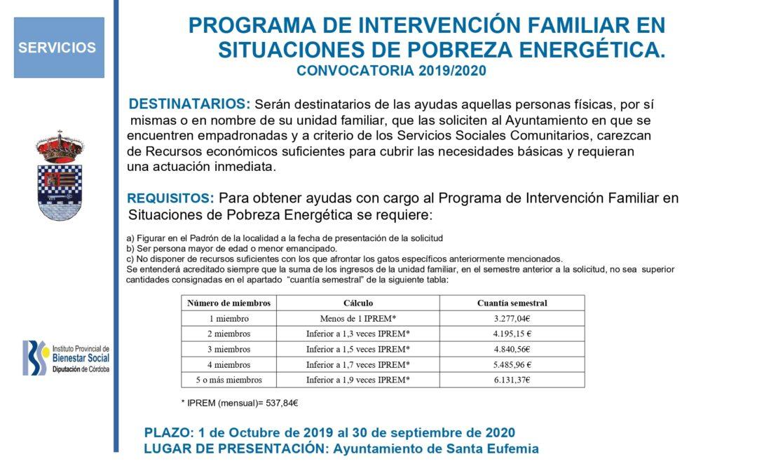 PROGRAMA DE INTERVENCIÓN FAMILIAR EN SITUACIONES DE POBREZA ENERGÉTICA.