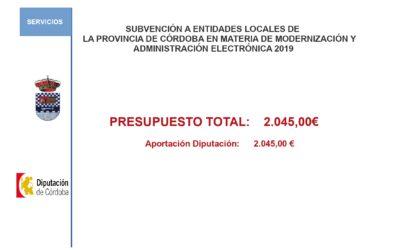 Subvenciones 2019. Subvención a Entidades Locales de la Provincia de Córdoba en materia de Modernización y Administración Electrónica 2019.