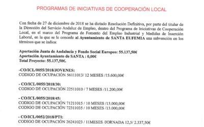 """SUBVENCIÓN """"PROGRAMAS DE INICIATIVAS DE COOPERACIÓN LOCAL"""""""