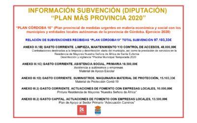 """INFORMACIÓN SUBVENCIÓN (DIPUTACIÓN) """"PLAN MÁS PROVINCIA 2020"""""""